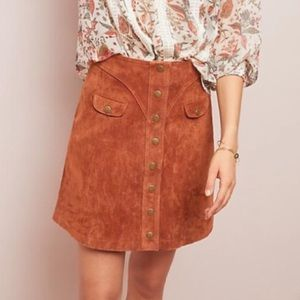 Anthropologie Suede Button Front Mini Skirt